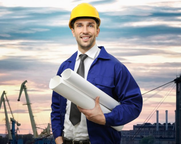 Engineer in hardhat in front of Infra Marine Engineering jobs